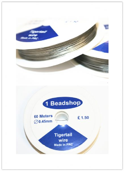 Tigertail 0.45mm plastic coated wire for jewellery making. WE101